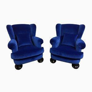 Italian Blue Velvet Armchairs, 1950s, Set of 2