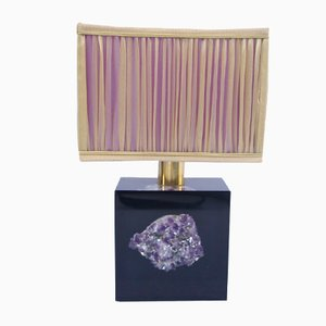 Purple Resin Lamp with Inlayed Amethyst, 1970s