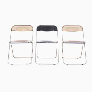 Vintage Plia Esszimmerstühle von Giancarlo Piretti für Castelli, 3er Set