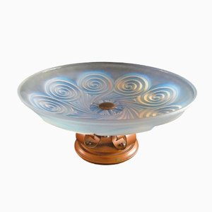 Art Deco Opalescent Glass and Patinated Brass Table Centerpiece from Etling, 1930s