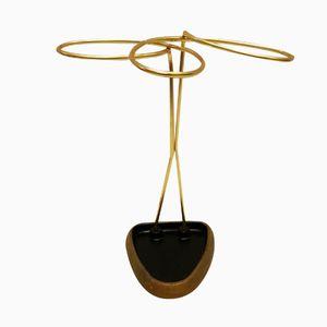 Mid-Century Austrian Brass & Cast Iron Umbrella Stand