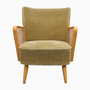 Moss Green Club Chair with Braiding, 1950s