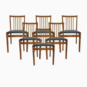 Vintage Danish Oak & Dark Green Leatherette Dining Chairs, Set of 6