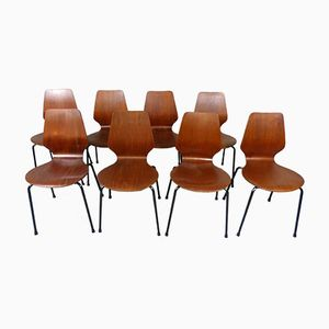 Danish Teak Plywood Stackable Chairs, 1960s, Set of 8