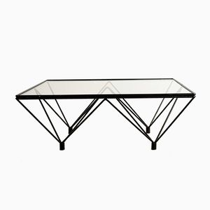 table basse vintage en verre et fer italie en vente sur. Black Bedroom Furniture Sets. Home Design Ideas