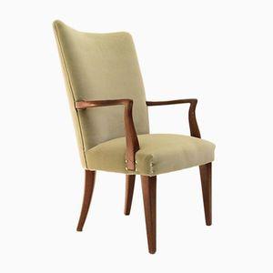 Green Velvet and Teak Chair, 1950s
