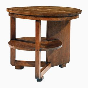 Vintage Large Oak Pedestal Table by Michel Dufet