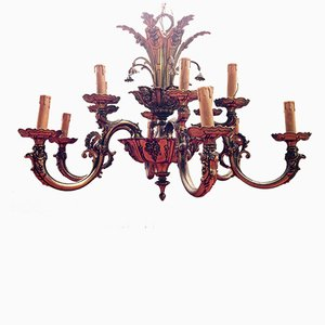 Vintage Spanish Art Deco Bronze Chandelier