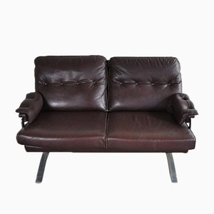 Vintage Leather and Chrome Sofa by Arne Norell for Vatne Møbler