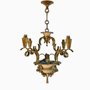 Vergoldete Art Deco Hängelampe aus Bronze & Lackiertem Metall, 1930er