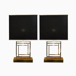 Lampes de Tables Vintage en Laiton et en Acier, 1970s, Set de 2