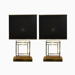 Vintage Brass and Steel Table Lamps, 1970s, Set of 2