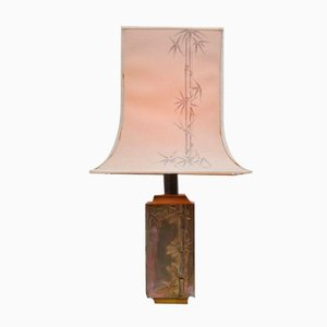 French Brass Table Lamp with Bamboo Leaves from Pragos, 1970s