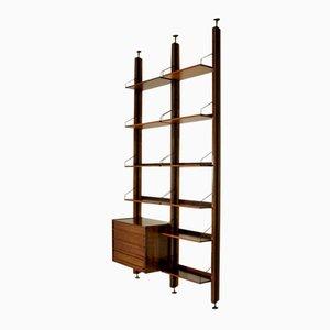 Adjustable Rosewood Veneered Wall Bookcase, 1960s