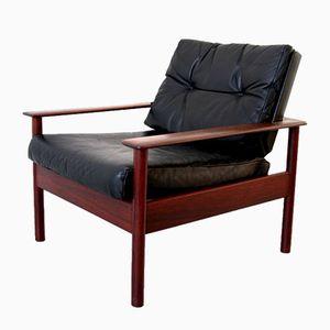 Mid-Century Danish Rosewood & Leather Armchair
