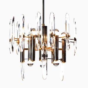Lustre Mid-Century en Chrome, en Laiton et en Cristal à Neuf Lampes par Gaetano Sciolari