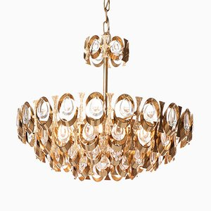 Mid-Century Six-Light Crystal Glass & Gilt Brass Chandelier from Palwa
