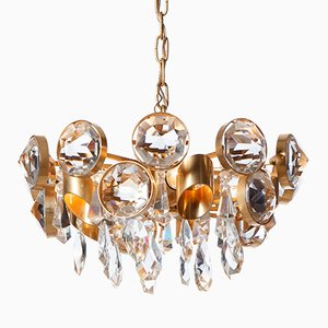 Mid-Century Five-Light Gilt Brass & Crystal Glass Chandelier by Gaetano Sciolari