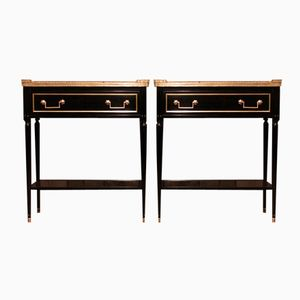 French Ebonised Side Tables with Marble Tops, 1920s, Set of 2