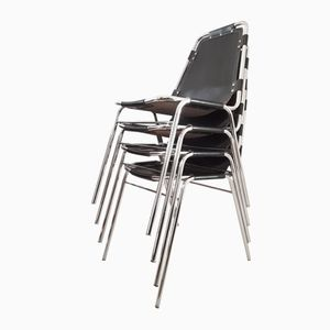 Vintage Les Arcs Stacking Chairs by Charlotte Perriand, Set of 4