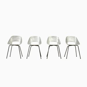 Aluminium Tulip Chairs by Pierre Guariche for Steiner, 1950s, Set of 4