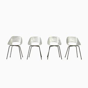 Aluminium Tulip Stühle von Pierre Guariche für Steiner, 1950er, 4er Set