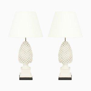 Ananas Tischlampen aus Keramik, 1970er, 2er Set
