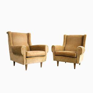 Vintage Beige Italian Armchairs, Set of 2