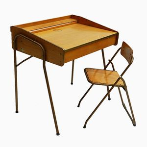 French Mid-Century Childs Desk and Folding Chair from Brevete Lallemand