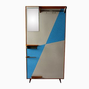 Vintage Coatrack with Blue Geometrical Laminates, 1960s