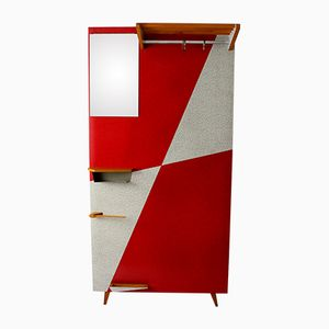 Vintage Coatrack with Red Geometrical Laminates, 1960s