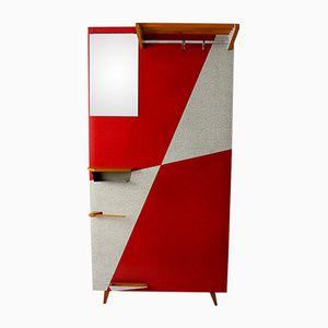 Vintage Garderobe mit Roten Geometrischen Mustern, 1960er