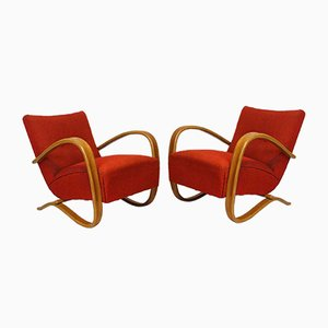 Vintage H-269 Art Deco Armchairs by Jindrich Halabala for Thonet, Set of 2