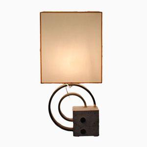 Italienische Vergoldete Tischlampe aus Travertine & Messing, 1970er
