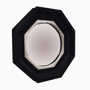 Mid-Century Large Octagonal Flocked Black Convex Mirror