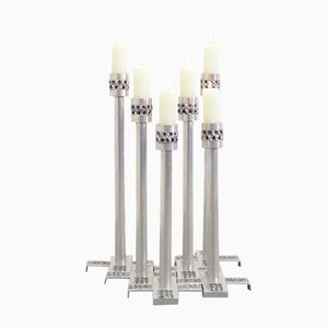 Brutalist Aluminum Candle Holders by Luyckx W. for Aluclair, 1970s, Set of 6