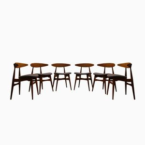 Vintage CH33 Teak Chairs by Hans J. Wegner for Carl Hansen, Set of 6