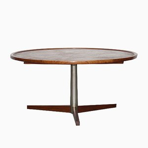 Vintage Round Teak and Metal Coffee Table by Martin Visser for 't Spectrum