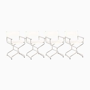 Folding Chrome and Skai Chairs, 1970s, Set of 4