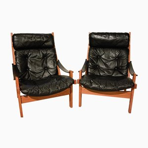 Black Hunter Chairs by Torbjørn Afdal for Bruksbo, 1960s, Set of 2