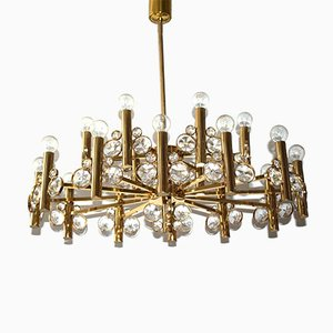 Large Eighteen-Arm Gold-Plated Brass Chandelier, 1970s