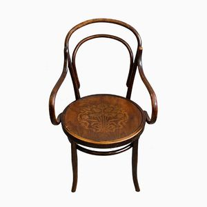 Large Bent Wood Armchair with Floral Seat, 1910s