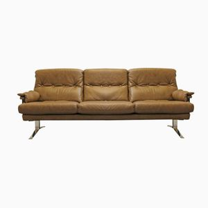 Danish Brown Buffalo Leather Sofa