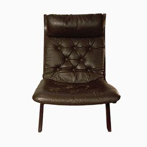 Mid-Century Norwegian Rosewood and Brown Leather Lounge Chair by Ekornes