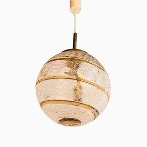 German Crackled Glass Globe Pendant from Doria, 1970s
