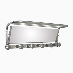 French Art Deco Aluminum & Mirror Coat Rack