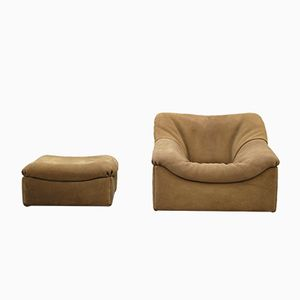 DS-46 Brown Neck Leather Lounge Chair with Ottoman from De Sede