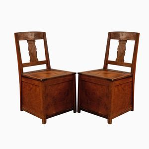 Beech Side Chairs with Storage, 1920s, Set of 2