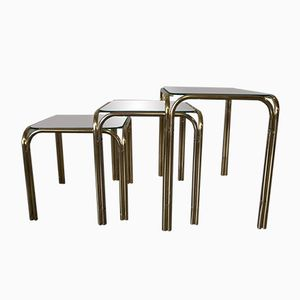 Italian Brass & Glass Nesting Tables, 1960s