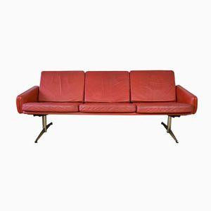 Danish Red Leather Shaker Leg Sofa, 1960s
